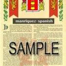 MANRIQUEZ - SPANISH - Armorial Name History - Coat of Arms - Family Crest GIFT! 8.5x11