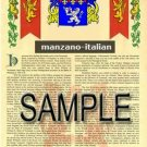 MANZANO - ITALIAN - Armorial Name History - Coat of Arms - Family Crest GIFT! 8.5x11