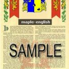 MAPLE - ENGLISH - Armorial Name History - Coat of Arms - Family Crest GIFT! 8.5x11