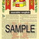 MARABLE - ENGLISH - Armorial Name History - Coat of Arms - Family Crest GIFT! 8.5x11