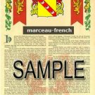 MARCEAU - FRENCH - Armorial Name History - Coat of Arms - Family Crest GIFT! 8.5x11