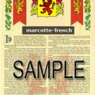 MARCOTTE - FRENCH - Armorial Name History - Coat of Arms - Family Crest GIFT! 8.5x11