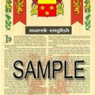 MAREK - ENGLISH - Armorial Name History - Coat of Arms - Family Crest GIFT! 8.5x11