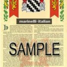 MARINELLI - ITALIAN - Armorial Name History - Coat of Arms - Family Crest GIFT! 8.5x11