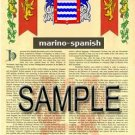 MARINO - SPANISH - Armorial Name History - Coat of Arms - Family Crest GIFT! 8.5x11