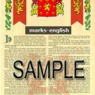 MARKS - ENGLISH - Armorial Name History - Coat of Arms - Family Crest GIFT! 8.5x11