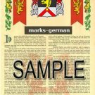 MARKS - GERMAN - Armorial Name History - Coat of Arms - Family Crest GIFT! 8.5x11
