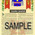 MARKS - JEWISH - Armorial Name History - Coat of Arms - Family Crest GIFT! 8.5x11
