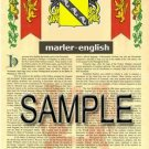 MARLER - ENGLISH - Armorial Name History - Coat of Arms - Family Crest GIFT! 8.5x11