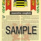 MAROTTA - ENGLISH - Armorial Name History - Coat of Arms - Family Crest GIFT! 8.5x11