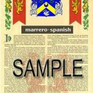 MARRERO - SPANISH - Armorial Name History - Coat of Arms - Family Crest GIFT! 8.5x11