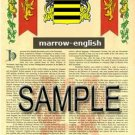 MARROW - ENGLISH - Armorial Name History - Coat of Arms - Family Crest GIFT! 8.5x11