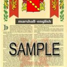 MARSHALL - ENGLISH - Armorial Name History - Coat of Arms - Family Crest GIFT! 8.5x11