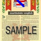 MARTINDALE - ENGLISH - Armorial Name History - Coat of Arms - Family Crest GIFT! 8.5x11