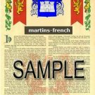 MARTINS - FRENCH - Armorial Name History - Coat of Arms - Family Crest GIFT! 8.5x11