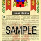 MASK - ITALIAN - Armorial Name History - Coat of Arms - Family Crest GIFT! 8.5x11