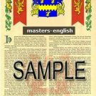 MASTERS - ENGLISH - Armorial Name History - Coat of Arms - Family Crest GIFT! 8.5x11