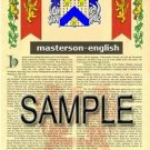 MASTERSON - ENGLISH - Armorial Name History - Coat of Arms - Family Crest GIFT! 8.5x11