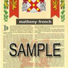 MATHENY - FRENCH - Armorial Name History - Coat of Arms - Family Crest GIFT! 8.5x11
