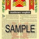 MATHEWS - ENGLISH - Armorial Name History - Coat of Arms - Family Crest GIFT! 8.5x11