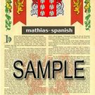 MATHIAS - SPANISH - Armorial Name History - Coat of Arms - Family Crest GIFT! 8.5x11