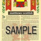 MATTHEWS - SCOTTISH - Armorial Name History - Coat of Arms - Family Crest GIFT! 8.5x11