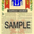 MATTISON - SWEDISH - Armorial Name History - Coat of Arms - Family Crest GIFT! 8.5x11