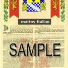 MATTOS - ITALIAN - Armorial Name History - Coat of Arms - Family Crest GIFT! 8.5x11