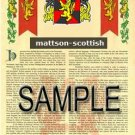 MATTSON - SCOTTISH - Armorial Name History - Coat of Arms - Family Crest GIFT! 8.5x11