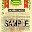 MAULDIN - ENGLISH - Armorial Name History - Coat of Arms - Family Crest GIFT! 8.5x11