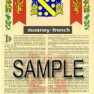 MAUNEY - FRENCH - Armorial Name History - Coat of Arms - Family Crest GIFT! 8.5x11