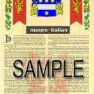 MAURO - ITALIAN - Armorial Name History - Coat of Arms - Family Crest GIFT! 8.5x11