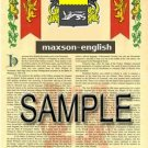 MAXSON - ENGLISH - Armorial Name History - Coat of Arms - Family Crest GIFT! 8.5x11