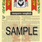 MAYERS - ENGLISH - Armorial Name History - Coat of Arms - Family Crest GIFT! 8.5x11