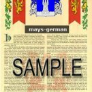 MAYS - GERMAN - Armorial Name History - Coat of Arms - Family Crest GIFT! 8.5x11
