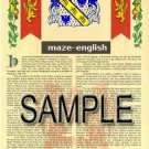 MAZE - ENGLISH - Armorial Name History - Coat of Arms - Family Crest GIFT! 8.5x11
