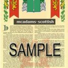 MCADAMS - SCOTTISH - Armorial Name History - Coat of Arms - Family Crest GIFT! 8.5x11