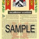 MCALLISTER - SCOTTISH - Armorial Name History - Coat of Arms - Family Crest GIFT! 8.5x11