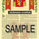 MCBROOM - SCOTTISH - Armorial Name History - Coat of Arms - Family Crest GIFT! 8.5x11