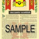 MCCANTS - SCOTTISH - Armorial Name History - Coat of Arms - Family Crest GIFT! 8.5x11