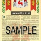MCCARTHY - IRISH - Armorial Name History - Coat of Arms - Family Crest GIFT! 8.5x11