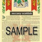 MCCARY - SCOTTISH - Armorial Name History - Coat of Arms - Family Crest GIFT! 8.5x11