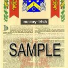 MCCAY - IRISH - Armorial Name History - Coat of Arms - Family Crest GIFT! 8.5x11
