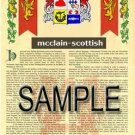 MCCLAIN - SCOTTISH - Armorial Name History - Coat of Arms - Family Crest GIFT! 8.5x11