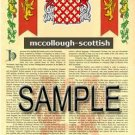 MCCOLLOUGH - SCOTTISH - Armorial Name History - Coat of Arms - Family Crest GIFT! 8.5x11