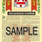 MCCORMACK - SCOTTISH - Armorial Name History - Coat of Arms - Family Crest GIFT! 8.5x11