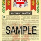 MCCRAW - SCOTTISH - Armorial Name History - Coat of Arms - Family Crest GIFT! 8.5x11