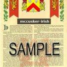 MCCUSKER - IRISH - Armorial Name History - Coat of Arms - Family Crest GIFT! 8.5x11
