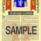 MCDOUGAL - SCOTTISH - Armorial Name History - Coat of Arms - Family Crest GIFT! 8.5x11