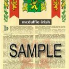 MCDUFFIE - IRISH - Armorial Name History - Coat of Arms - Family Crest GIFT! 8.5x11
